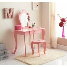 Amelia Vanity Set With Stool & Mirror Girls Dressing Room Decor - Pink