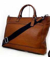 COACH CAMDEN LEATHER BUSINESS TOTE F71416 GUNMETAL/CLASSIC TOBACCO Retail $528