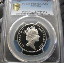 **1989 20 cent PROOF slabbed coin. PCGS PR69 DCAM! Very high grade! High C/V!