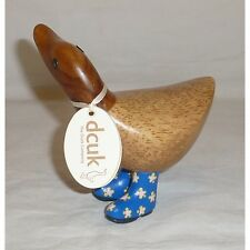 Dcuk Natural Welly Ducky - Rigby - Bolsa Regalo - Madera Pato Floral Azul 13cm