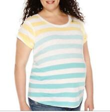 3X NEW Maternity Top Tee Blue Yellow Stripe Side Ruched A.N.A. Soft PLUS SIZE