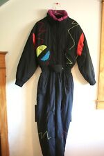 New listing Vintage Nwt Tyrolia Skiwear One Piece Ski/Snowboard Suit Black Funky Pattern