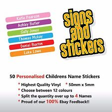 50 Personalised Childrens Name Stickers Labels Lunch boxes - School tags pens..
