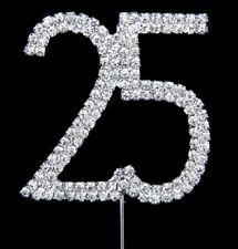 25TH BIRTHDAY SILVER DIAMANTE CAKE TOPPER DECORATION 25 TH WEDDING ANNIVERSARY