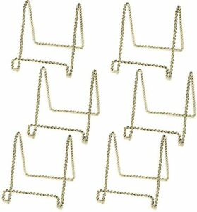 Gold Plate Stand Display Easel Rack Dish Holder Metal Twist Wire 3 inch 6pc