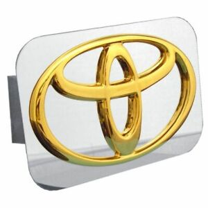 """Toyota Gold Stainless Steel 1.25"""" Trailer Tow Hitch Cover"""