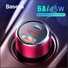Baseus 45W USB Type-C Fast Charging Car Charger Adapter QC 3.0 Cigarette Lighter