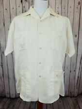 Vintage Pale Beige 1980s Yucamex Polycotton Guayabera Shirt Rockabilly L/XL HE94