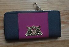 NWT Juicy Couture Authentic  Navy/Pink Zip Around Wallet. Leather.Gold Logo $128