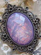 SILVER  lavender purple fire opal ROCKABILLY PENDANT MOONSTONE Necklace WEDDING