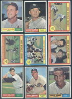 1961 Topps Baseball Complete SET Mantle Koufax Aaron Mays Clemente Maris GD-VGEX