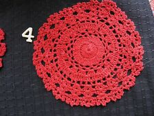 """Vintage Red Hand Crocheted Doily 6"""""""