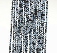 2MM SNOWFLAKE OBSIDIAN GEMSTONE GRADE A FACETED ROUND 2MM LOOSE BEADS 15.5""