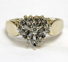 14k yellow gold .43ct SI2 H womens diamond cluster ring 3.9g vintage estate