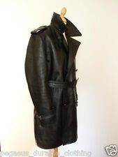 Pegasus Belted Trench Coat Horsehide Leather Motorcycle Military Jacket Vintage