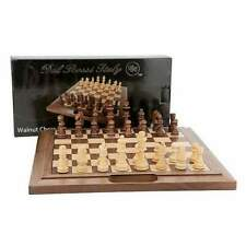 """Chess Set Folding Walnut Bevelled Edge with Handle 40cm (16"""") - Dal Rossi"""