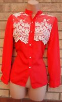 RED CREAM CROCHET LACE BUTTONED LONG SLEEVE FITTED BLOUSE T SHIRT BLOUSE TOP 6