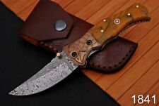 Forged Damascus Steel Folding Knife Engraved Copper Bolster Resin Handle-AJ-1841