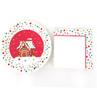 "9"" Christmas Decorative Party Supplies Paper Plates and Paper Napkins Set for 18"