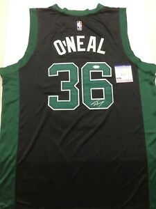 SHAQUILLE O'NEAL SIIGNED BOSTON CELTICS BLACK  JERSEY PSA WITNESS 9A24394