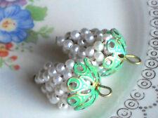 Vintage Grape Cluster Charms Pearl Filigree Drops Dangles Patina Bead Cap #1006L