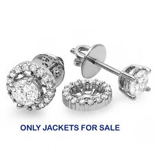 0.25 CT 10k White Gold Round Diamond Removable Jackets for Stud Earrings