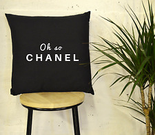 "'Oh So..' Black and White Quote 17"" Cushion Pillow Luxury Fashion Chanel"