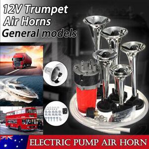 5Pcs Trumpet Car Air Horn Compressor Musical Dixie Dukes Of Hazzard 12V 125DB OZ