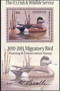 RW77B 2010 Migratory Oiseau Mini Feuille Artiste Signé Canard Tampon F-Vf Solde