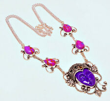 Carved Face Sapphire Copper Purple Turquoise Cabs Silver Necklace Free Gift Bag