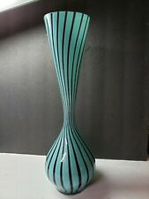 AWESOME 1960S MID CENTURY MODERN TURQUOISE BLACK STRIPED ART GLASS VASE