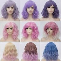 35CM Women Lady Ombre Party Short Hair Heat Resistant Curly Cosplay Wig+Cap Gift