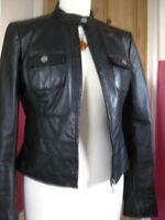Ladies NEXT Black real Leather short fitted slim Biker Racer Jacket size UK 10 8