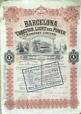 ACTION-U.S.A.BARCELONA TRACTION LIGHT & POWER-COUPON 100 Dollarss-1913