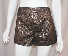 Goth Witchy ANTHROPOLOGIE ECOTE Black Gold Metallic High Waist Shorts Sz 6 Small