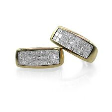 14k Yellow Gold Natural Princess cut Diamond Huggie Earrings 2.09 ct F-G Color