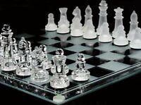 Jeux echec de 35 x 35 cm échiquier verre miroir + 32 pièces - Glass chess