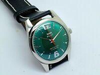 hmt pilot hand winding men steel green dial para shock vintage india watch run