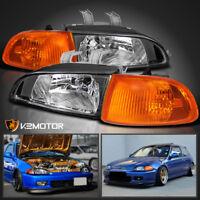 For 92-95 Honda Civic 2Dr/3Dr EG EH EJ JDM Black Headlights+Corner Lights 4PC