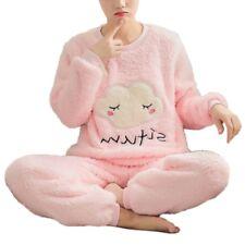 Women Girls Winter Warm Cloud Pattern Long Sleeve Velvet Pajama Sets Sleepwear