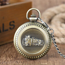 Antique Style Locomotive Train Men Women Quartz Analog Pocket Watch FOB Chain