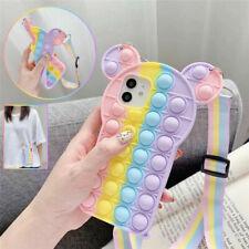 Pop Fidget Toys Push It Bubble Silicone Case For IPhone 6 7 8 Plus 11 12 Pro Max