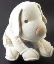 Fao Schwarz Ivory Soft Silky Velour Puppy Dog All Plush Stitched Eyes Stuffed