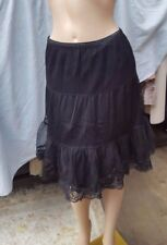 Lovely Atmosphere  Black 3 Layers  Party Lined Skirt With Lace  Size 10