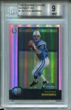 1998 Bowman Chrome Refractors #1 Peyton Manning Rookie Card RC Graded BGS Mint 9