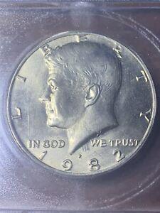"""1982-P kennedy half dollar no FG """" die clash"""" MS66"""