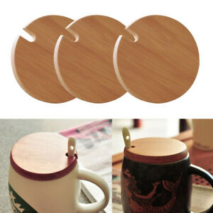 3Pcs Wooden Mug Lids Cover Glass Jar Wood Drink Coffee Cup Lid with Spoon Hole