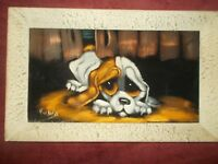 Framed Painting of Dog on Canvas Signed by Rubio