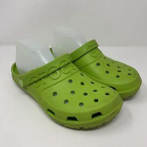 Crocs Hilo Lime Green Slip On Flip Down Ankle Strap Sandals Shoes Women's US 9