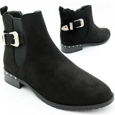 SALE WOMENS LADIES CHELSEA ANKLE BOOTS Buckle Zip Low Block Heel Patent UK